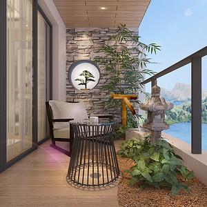 山海上城-新中式-阳台装修效果图