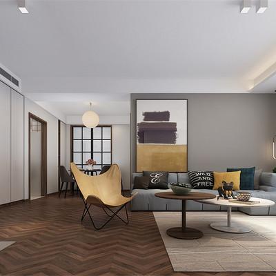 中正亲贤们现代简约三居室客厅沙发背景墙装修效果图