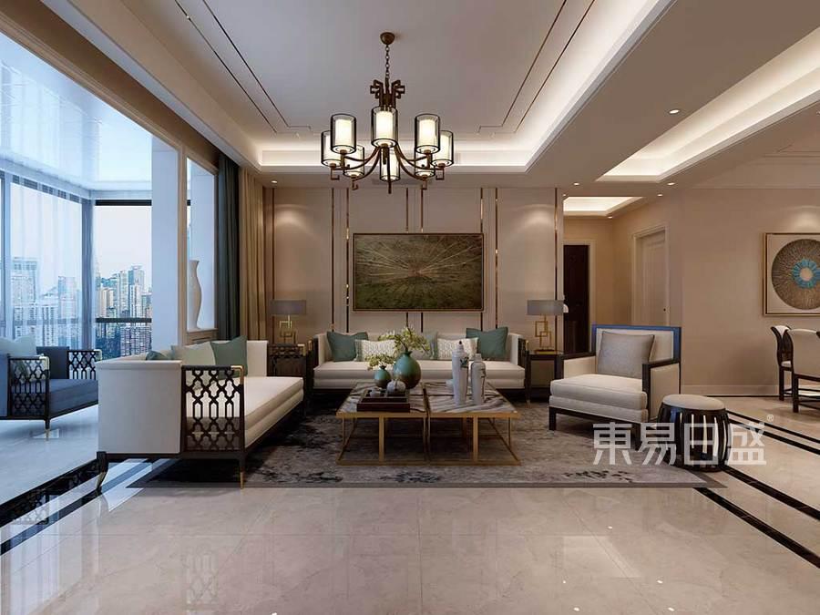 客厅效果图天然的石材和深色的木质装饰