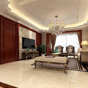 熙和园新中式风格客厅装修效果图