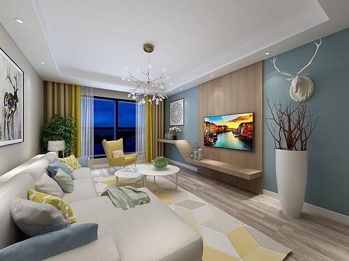 中集青春里-112平米-现代简约风格两室一厅装修案例效果图