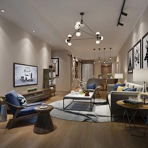 鸿荣源尚峰6D-04 北欧风格装修效果图 90平米 三房两厅一厨一卫