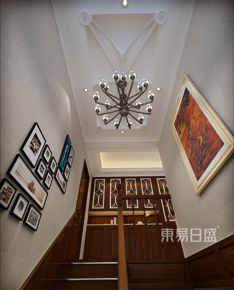 美式乡村 - 楼梯效果图:我们选择了异形的跌级吊顶