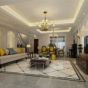燕南园现代美式风格客厅装修效果图