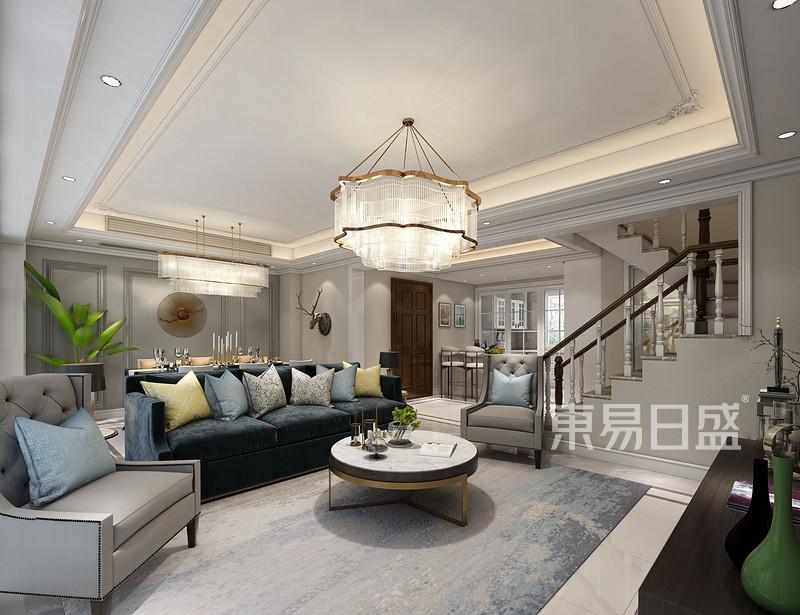 狮山原著现代美式客厅设计效果图