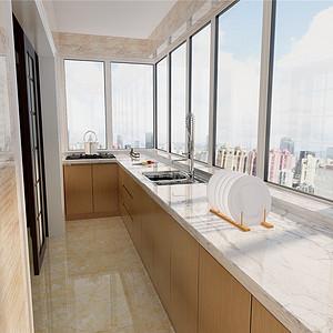 兴源里紫光阁现代都市风格厨房效果图