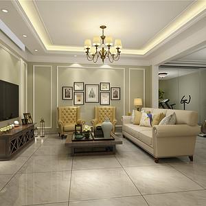 燕南园现代美式风格地下室客厅效果图
