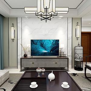 松山湖保利红珊瑚装修案例-148㎡新中式四房二厅装修效果图