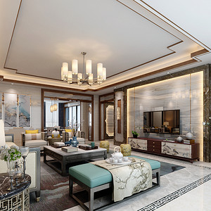 御湖峰  新中式风格装修效果图 260平米 四房两厅装饰设计