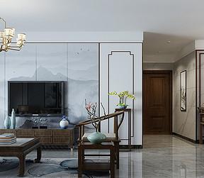 中海文华熙岸新中式风格客厅装修效果图