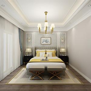 华贸公园郡美式风格卧室装修效果图
