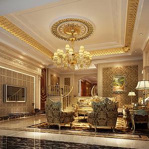 欧式古典风格 客厅装修效果图