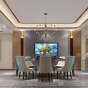 锦绣山河观园复式现代中式餐厅效果图