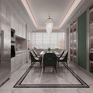 三居室-美式轻奢-效果图