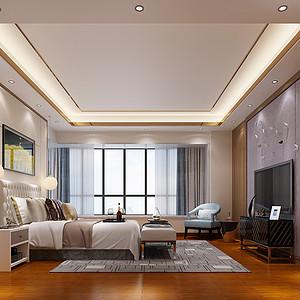 锦绣山河观园复式现代中式主卧室效果图
