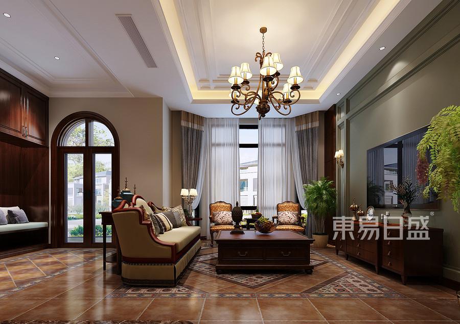 京基领墅美式风格客厅装修效果图