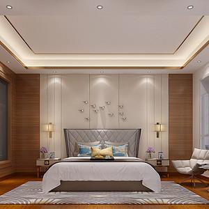 锦绣山河观园复式现代中式卧室效果图