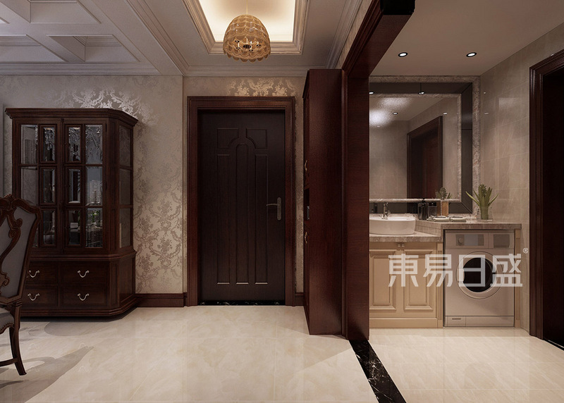 门厅地砖和壁纸颜色相呼应效果图_装修效果图大全2018