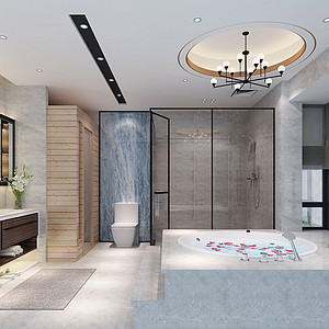 锦绣山河观园复式现代中式卫生间效果图