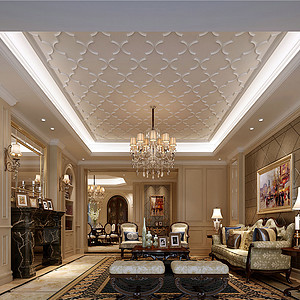 180㎡新古典欧式风格客厅效果图