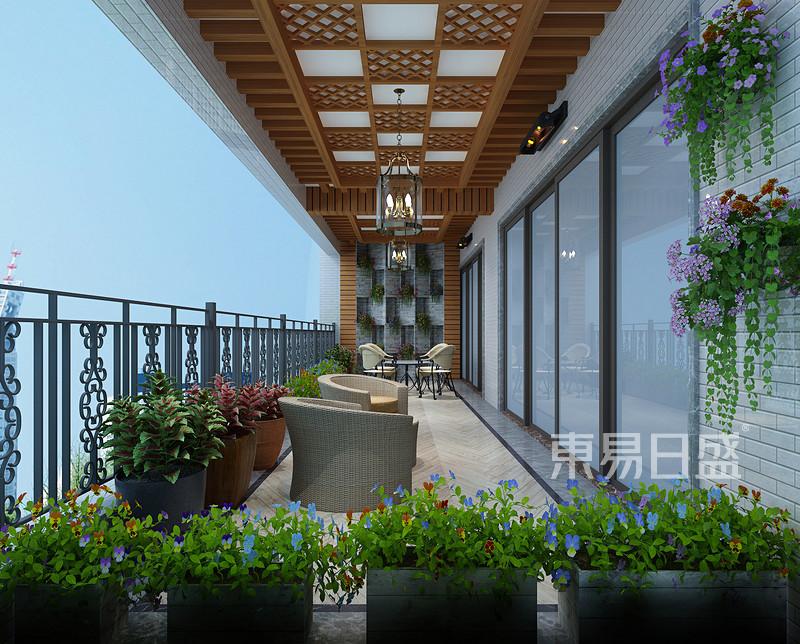 锦绣山河观园超大平层阳台效果图