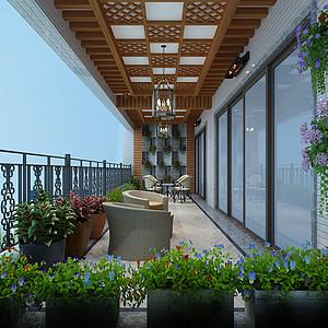 锦绣山河观园复式现代中式阳台效果图