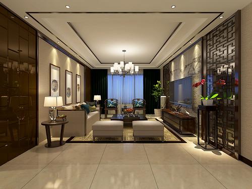 保利领秀山-136平米-新中式风格三室两厅装修案例效果图