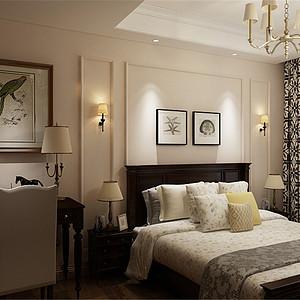 佳兆业美式风格二楼卧室装修效果图