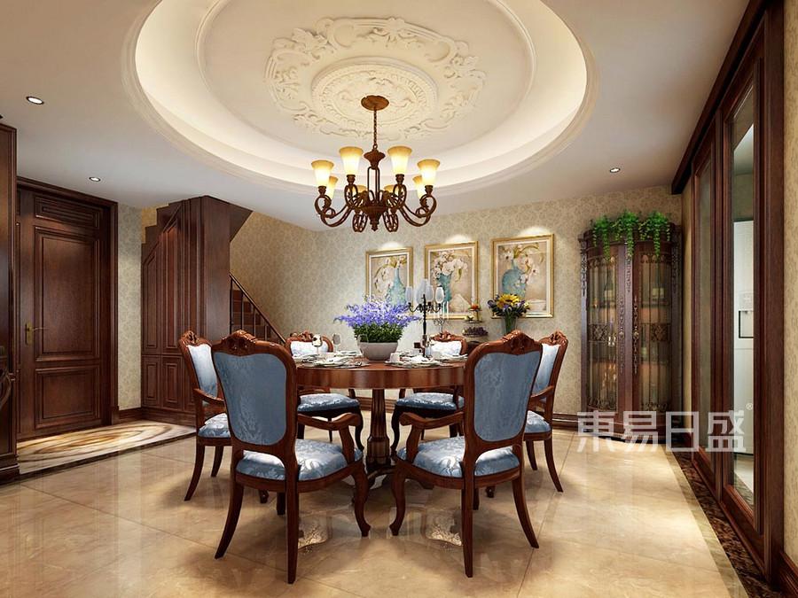 餐厅区域圆桌圆顶,与客厅呼应