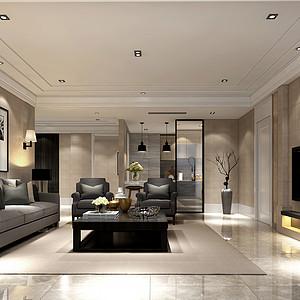 轻奢-平层-客厅