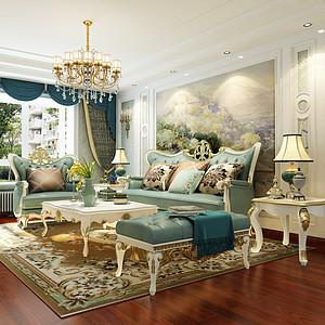 新古典北欧风格-客厅-装修效果图