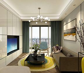 北欧风格客厅装修效果图:客厅的柜体用的是白色烤漆,进一步将空间的亮度提高和满足了收纳。