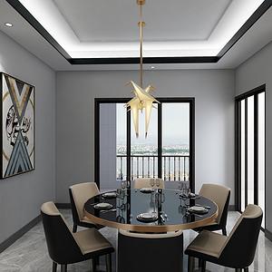 三居室-现代简约-餐厅