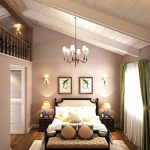 佳兆业美式风格三楼主卧室装修效果图