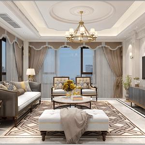 龙湾首府320平美式风格设计装修效果图