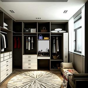 北欧风格衣帽间装修效果图:主卧旁边的房间并入进来当衣帽间后使主卧的功能更专一,有较为舒适的居住空间。