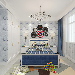 新中式风格-男孩房-装修效果图