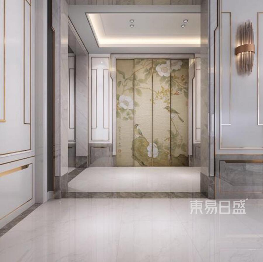 中式新轻奢装修风格玄关效果图图片