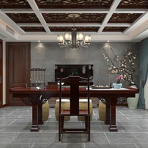 瀚唐小区 四室二厅 新中式装修风格案例