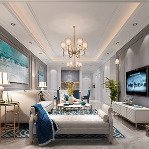 虎门公寓-法式轻奢-客厅装修效果图