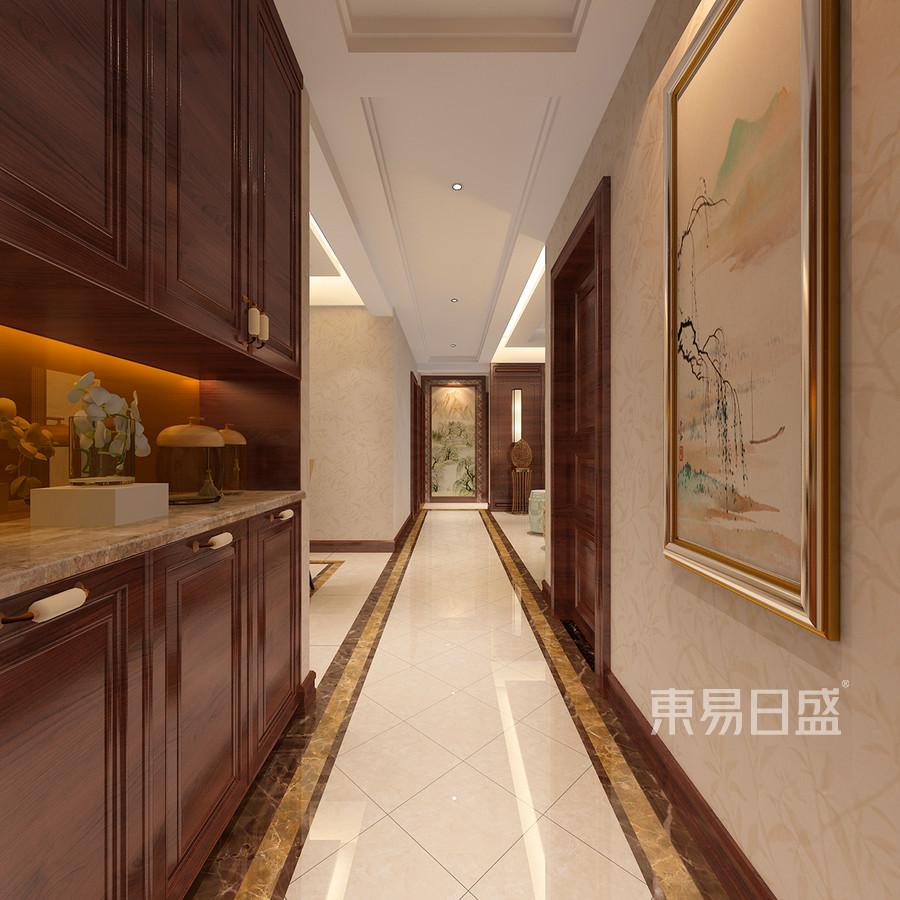 走廊:狭长的走廊,在波打线的衬托下,效果图_2018装修