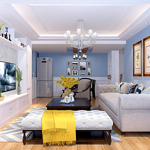 金城珑园-93平米-现代美式风格装修案例效果图
