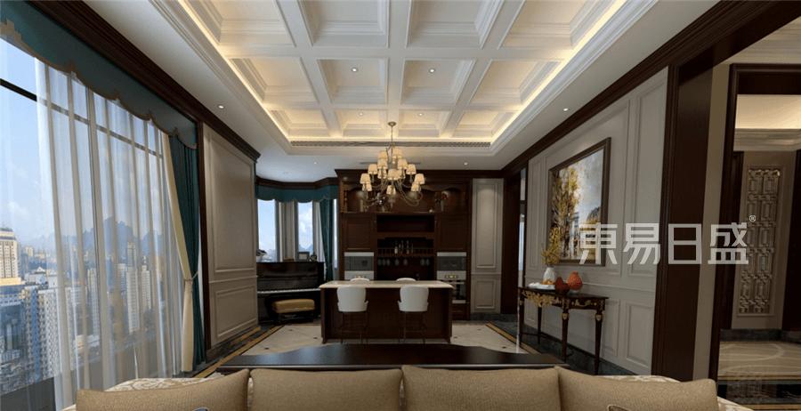 美式新古典风格别墅休闲阳台装修设计效果图