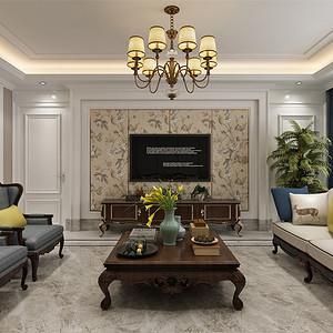 三居室-简欧-客厅电视背景墙-效果图