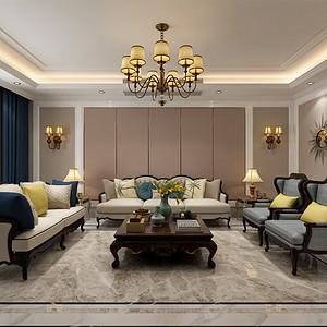 三居室-简欧-客厅沙发背景墙-效果图