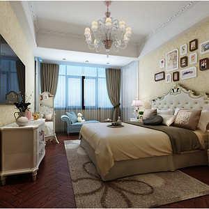 万境水岸350平新中式风格别墅卧室