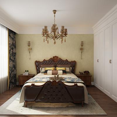 首开国风琅樾三室两厅美式老人房装修效果图