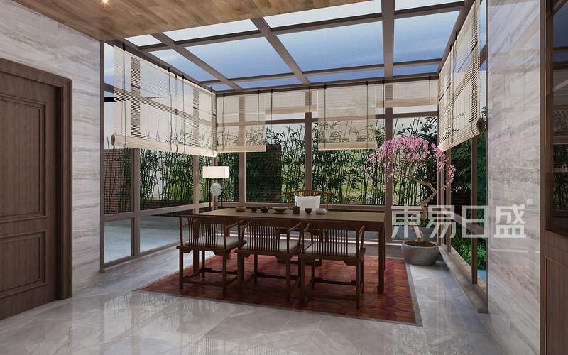 新中式风格-阳光房-装修效果图图片