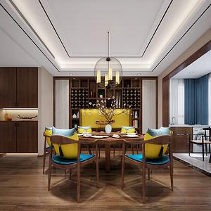 餐厅木质餐桌搭配简洁的中式吊灯,极富雅致。