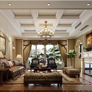 万境水岸350平新中式风格别墅客厅